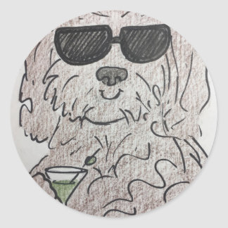 Adesivo Redondo Cão martini de Havanese