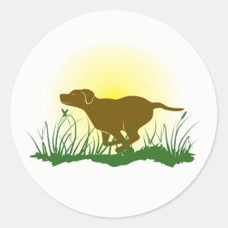 Adesivo Redondo Cão Running