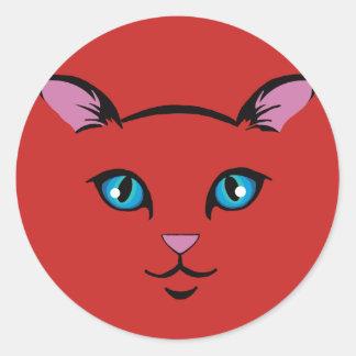 Adesivo Redondo cara bonito do gato