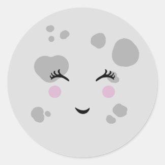 Adesivo Redondo Cara de lua de sorriso bonito & Nerdy super