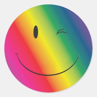 Adesivo Redondo Cara do piscar os olhos do arco-íris