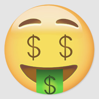 Adesivo Redondo Cara Emoji da Dinheiro-Boca