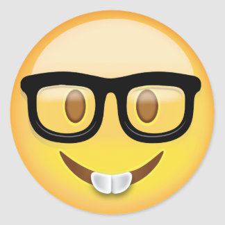 Adesivo Redondo Cara Emoji do nerd