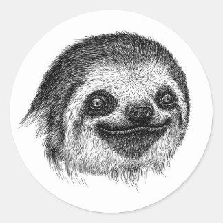 Adesivo Redondo Cara ilustrada da preguiça