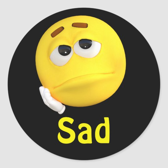 Adesivo Redondo Cara Triste Dos Desenhos Animados Do Emoticon De