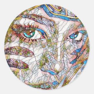 Adesivo Redondo Características artísticas raras do Facial do