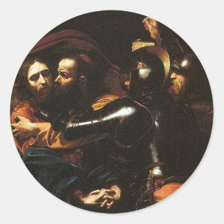 Adesivo Redondo Caravaggio - tomada do cristo - trabalhos de arte