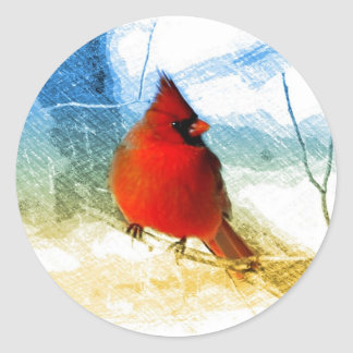 Adesivo Redondo Cardeal vermelho do Natal primitivo do país