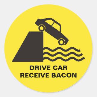 Adesivo Redondo Carro da movimentação - receba o bacon