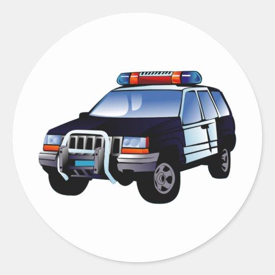 Adesivo Redondo Carro De Policia Dos Desenhos Animados Zazzle Com Br