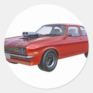 Adesivo Redondo carro vermelho do músculo dos anos 70