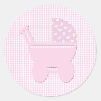 Adesivo Redondo Carruagem cor-de-rosa bonito do vintage do bebé