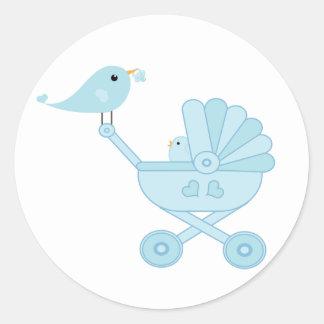 Adesivo Redondo Carruagem do pássaro de bebê azul