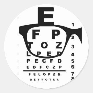 Adesivo Redondo Carta de teste do olho de Blurr