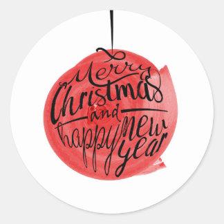 Adesivo Redondo Cartão de cumprimentos do Feliz Natal e do feliz