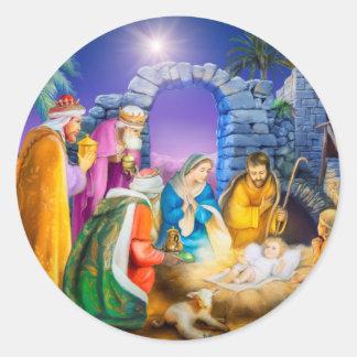 Adesivo Redondo Cartão de Natal cristão