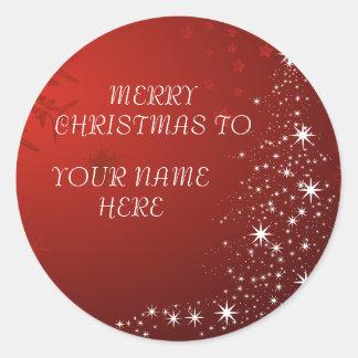 Adesivo Redondo Cartão do Natal com nome feito sob encomenda -