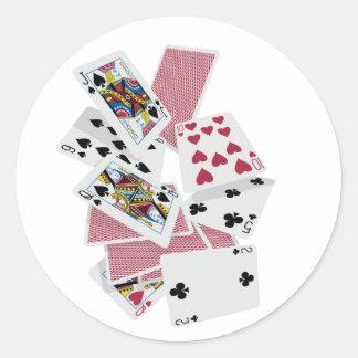 Adesivo Redondo Cartões de jogo - jogo a ganhar - encantos