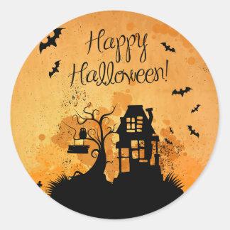 Adesivo Redondo Casa assombrada rústica o Dia das Bruxas feliz