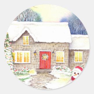 Adesivo Redondo Casa de campo nevado