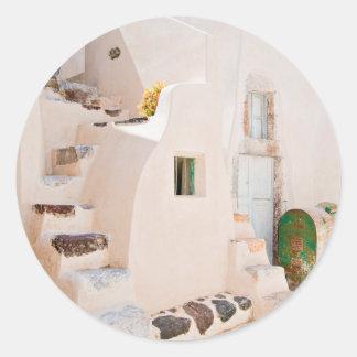 Adesivo Redondo Casa em Santorini