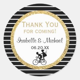 Adesivo Redondo Casal em um obrigado do ouro da bicicleta você