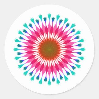 Adesivo Redondo Casamento azul cor-de-rosa da flor de Lotus