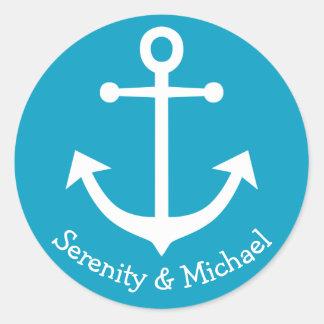 Adesivo Redondo Casamento azul de turquesa da âncora náutica do