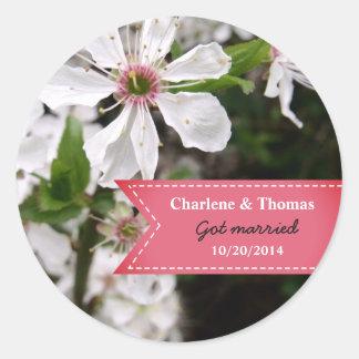 Adesivo Redondo Casamento branco bonito da flor
