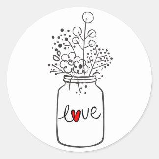 Adesivo Redondo Casamento branco do preto floral rústico da flor