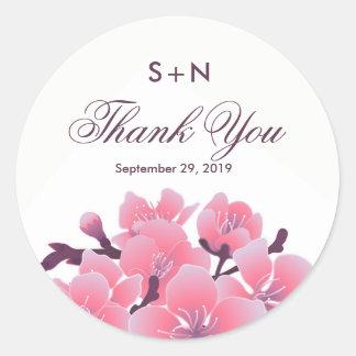 Adesivo Redondo Casamento da flor da flor de cerejeira de Sakura