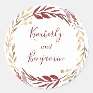 Adesivo Redondo Casamento da grinalda das folhas de Borgonha e de