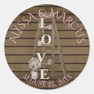 Adesivo Redondo Casamento de madeira da escada do vintage e do