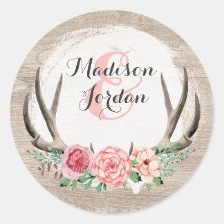 Adesivo Redondo Casamento de madeira rústico dos Antlers florais