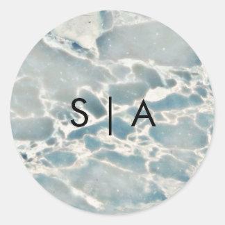 Adesivo Redondo Casamento de vidro do monograma do Aqua dos azuis