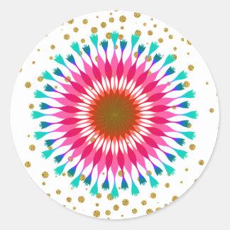 Adesivo Redondo Casamento do brilho da flor de Lotus dos confetes