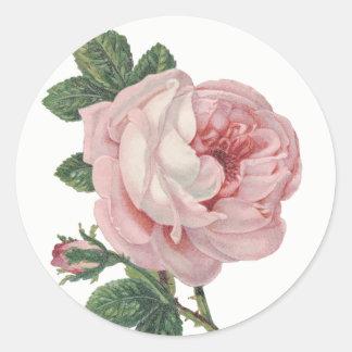 Adesivo Redondo Casamento do chique da flor do rosa do rosa do