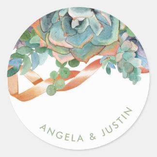 Adesivo Redondo Casamento do conjunto do Succulent da aguarela