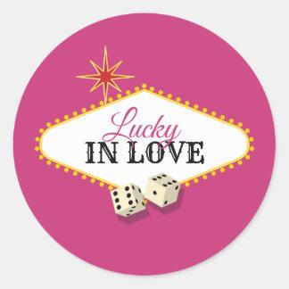 Adesivo Redondo Casamento do famoso de Las Vegas na magenta