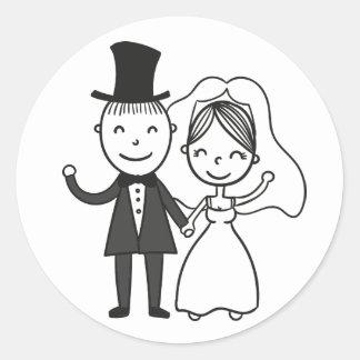 Adesivo Redondo Casamento do recem casados da noiva & do noivo dos