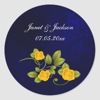 Adesivo Redondo Casamento do rosa azul escuro e amarelo