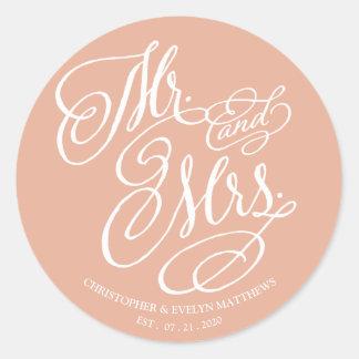 Adesivo Redondo Casamento do Sr. e da Sra. Imaginação Roteiro Cora