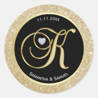 """Adesivo Redondo Casamento elegante da letra """"K"""" do monograma do"""