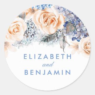 Adesivo Redondo Casamento elegante das flores do azul e do pêssego