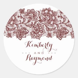 Adesivo Redondo Casamento elegante do laço vermelho de Borgonha