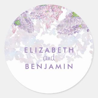 Adesivo Redondo Casamento elegante floral da aguarela dos Lilacs