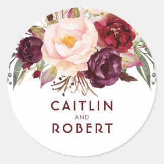 Adesivo Redondo Casamento elegante floral de Borgonha