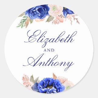 Adesivo Redondo Casamento elegante floral do marinho