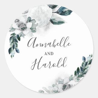 Adesivo Redondo Casamento elegante natural das flores brancas