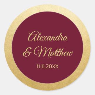 Adesivo Redondo Casamento elegante personalizado do ouro de